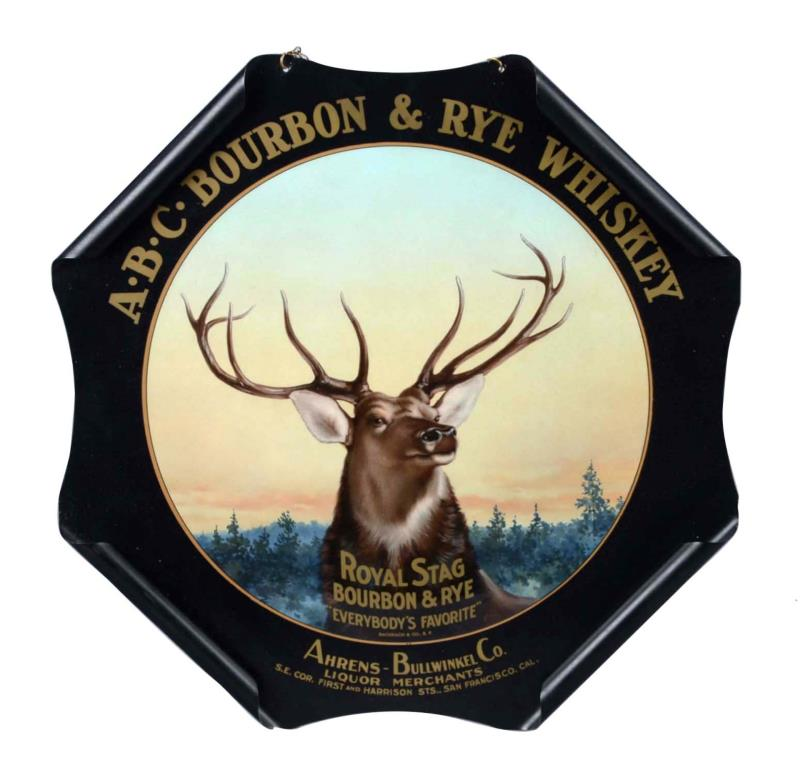 ABC Stag Bourbon Rye & Whiskey Rolled Edge Sign