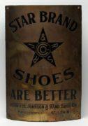 Star Shoes Brass Corner Sign, Roberts Johnson & Rand Shoe Company, St. Louis, MO.  Circa 1895