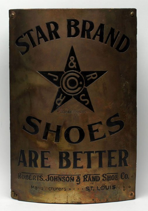 Star Shoes Brass Corner Sign, Roberts Johnson & Rand Shoe Company, St. Louis, MO. Circa 1895
