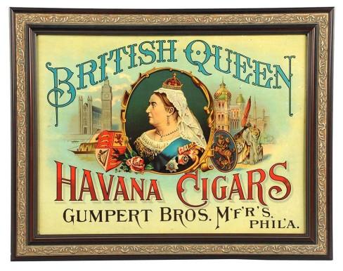 British Queen Havana Cigar Tin Sign, Gumpert Bros. Philadelphia, PA