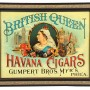 British Queen Havana Cigar Tin Sign, Gumpert Bros. Philadelphia, PA
