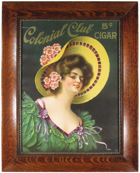 Colonial Club 5cent Cigar Lithographic Sign