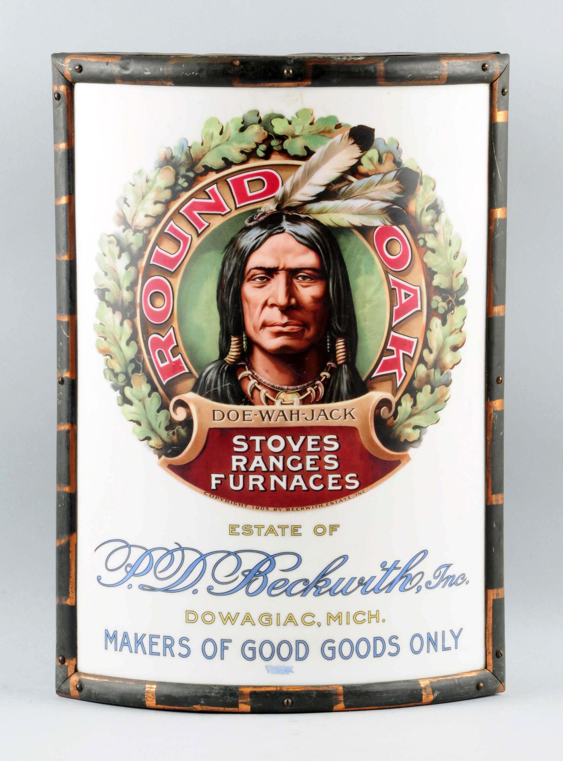 Round Oak Stove Vitrolite Corner Sign, Dowagiac MI. Circa 1910