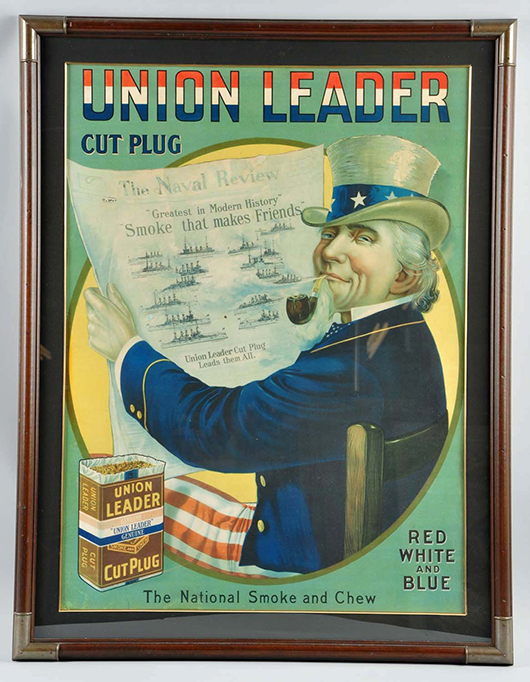 Union Leader Cut Plug Uncle Sam Cardboard Sign, Circa 1900