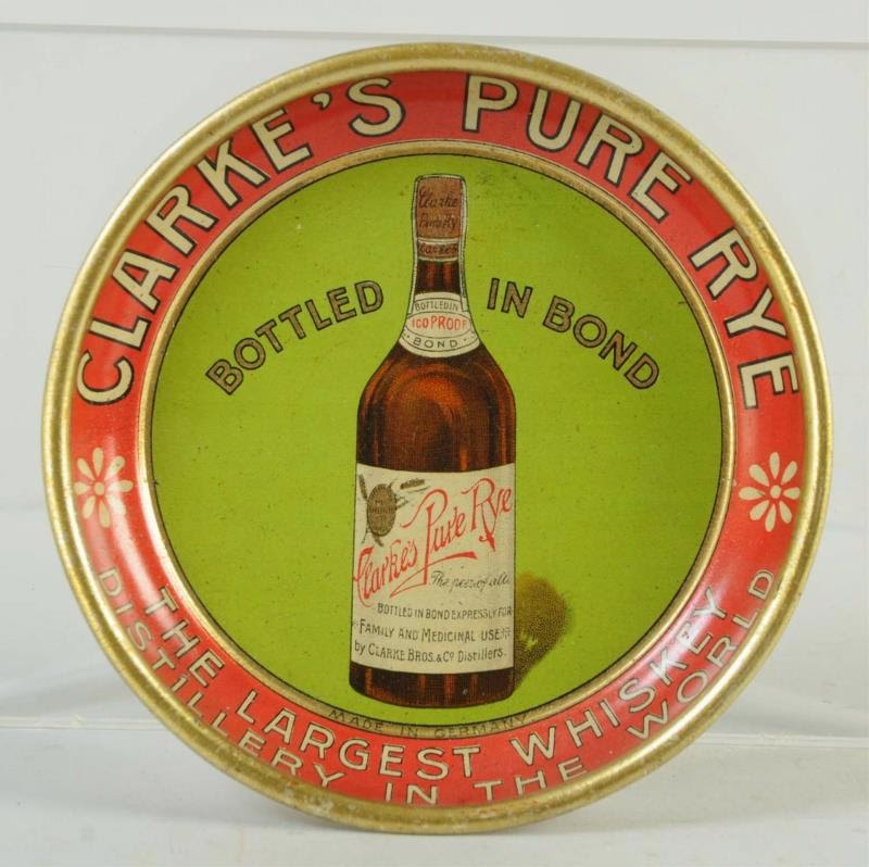 Clarke's Pure Rye Whiskey Tip Tray, Peoria, IL
