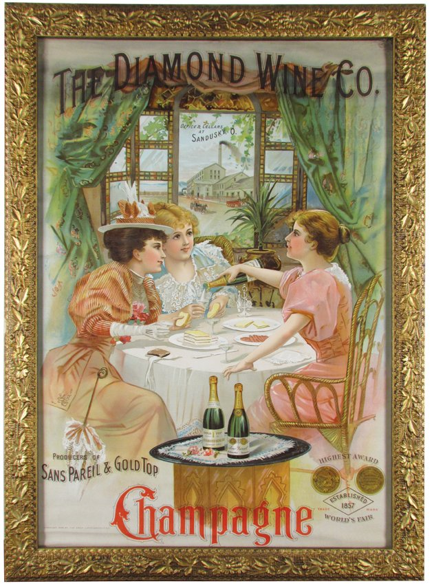 Diamond Wine Co.,, Sandusky, OH Lithograph Print, Circa 1900.