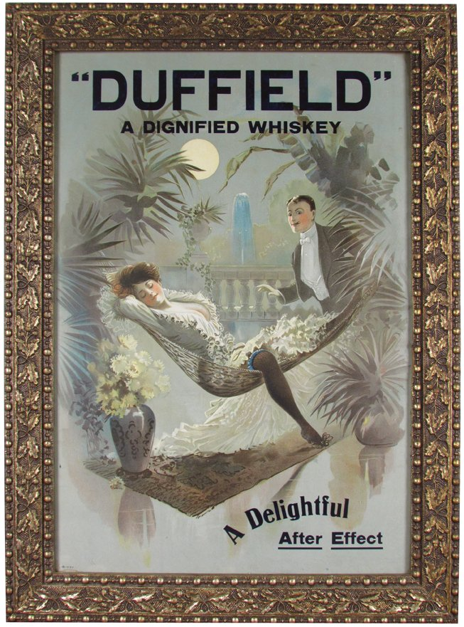 Duffield Whiskey Gesso Framed Lithographic Print. Ca. 1900
