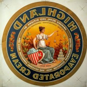 Highland Evaporated Cream Lithographic Decal, Highland, IL. Circa 1895