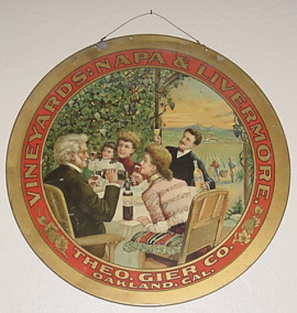 Theo Gier Vineyards, Oakland, CA. Hanging Sign, Circa 1905