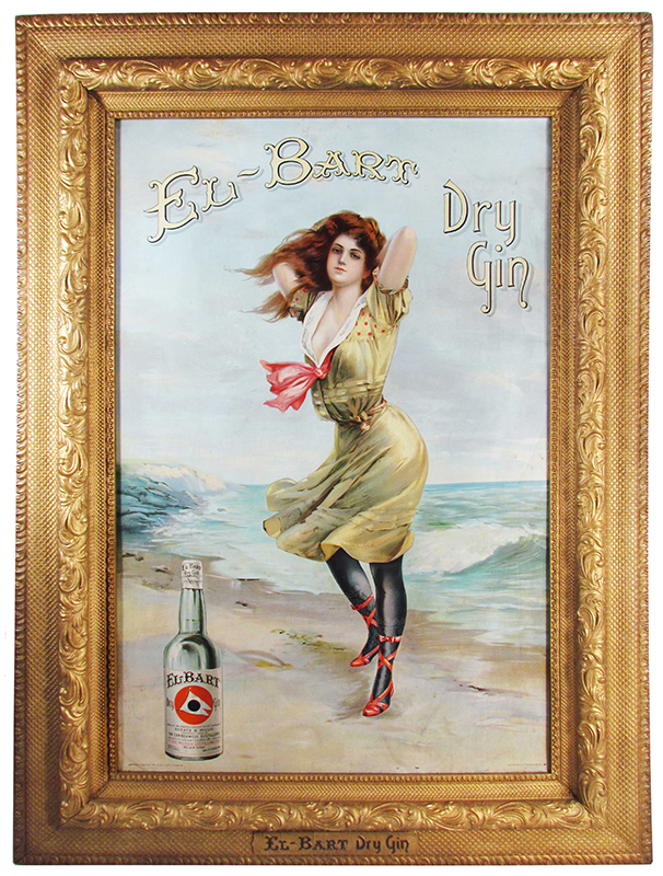 El-Bart-Gin Lithographic Sign, Circa 1905
