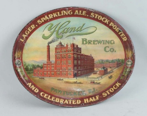 Hand Brewery Co, Pawtucket, RI Tray. Circa 1910