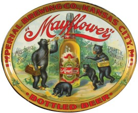 Mayflower Lager Beer Serving Tray, Imperial Brewing Co., Kansas City, MO. Circa 1902