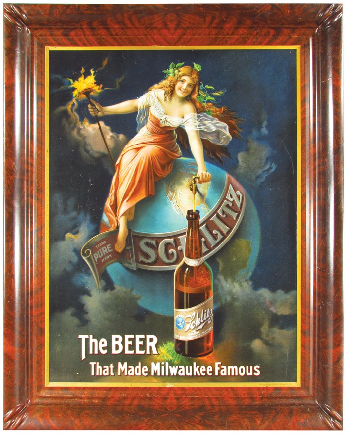 Schlitz Beer, Milwaukee, WI. Self-framed Tin Sign. Circa 1900