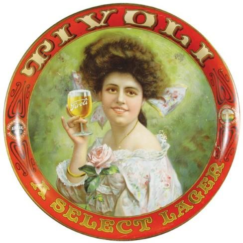 Tivoli Beer Tray, Fredericksburg Brewery, San Jose & San Francisco CA. Circa 1910.