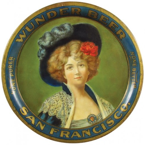 Wunder Brewing Co, Beer Serving Tray, San Francisco CA. Circa 1905