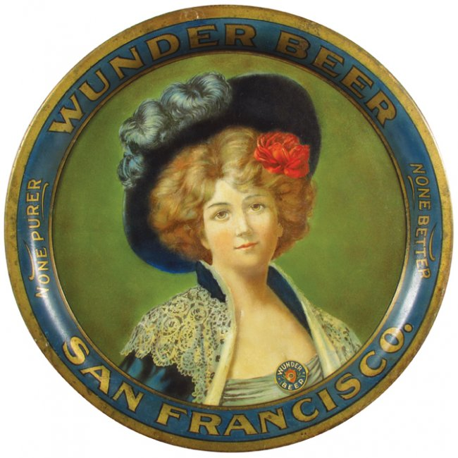 Wunder Brewing Co, Beer Serving Tray, San Francisco CA. Circa 1905