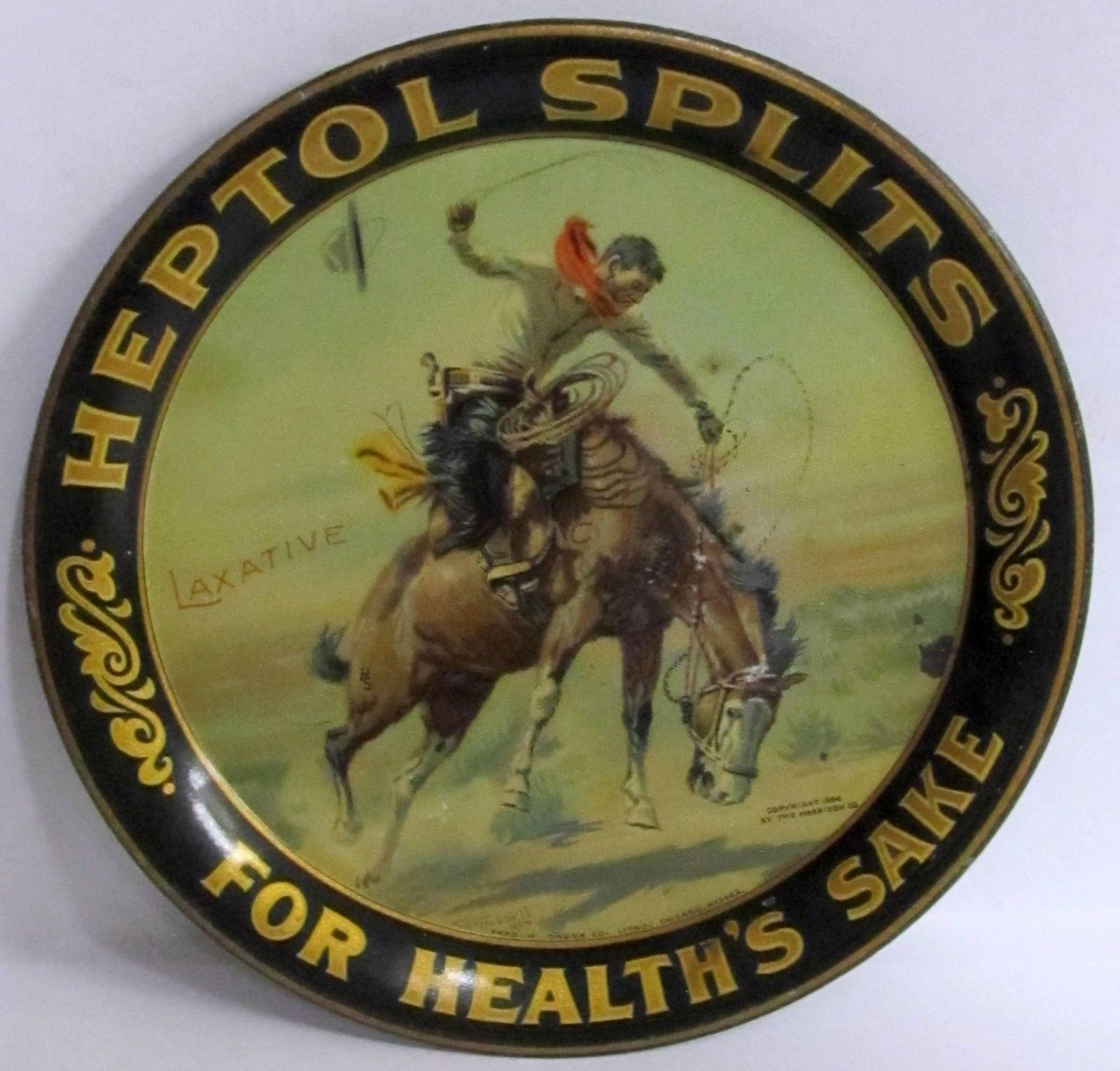 "Heptol Splits Tip Tray, ""For Health Sake"". The Morrison Heptol Co, St. Louis, MO. Circa 1900"