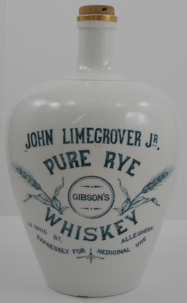 John Limegrover Jr., Allegheny, PA. Pure Rye Whiskey Jug, Circa 1895