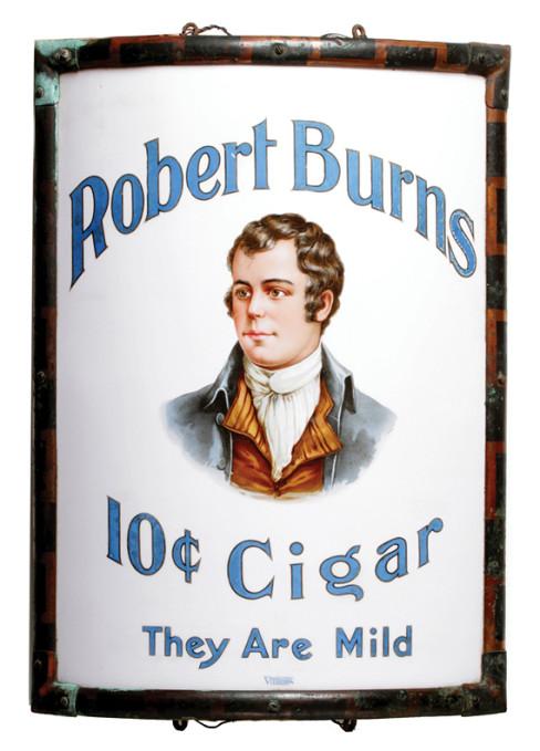 Robert Burns 10ct Cigar Vitrolite Corner Sign