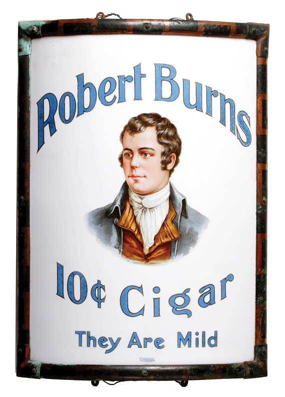 Robert Burns 10ct Cigar Vitrolite Corner Sign