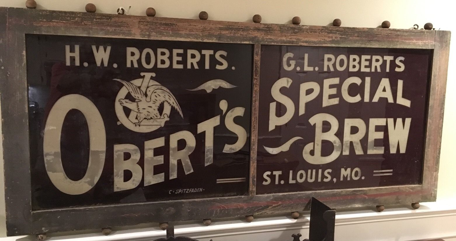 Louis Obert's Brewery Glass ROG Transom Sign, circa 1900