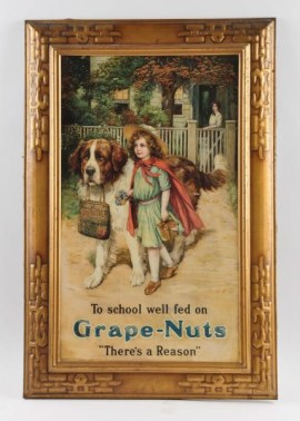 Grape Nuts Self Framed Tin Sign, circa 1910