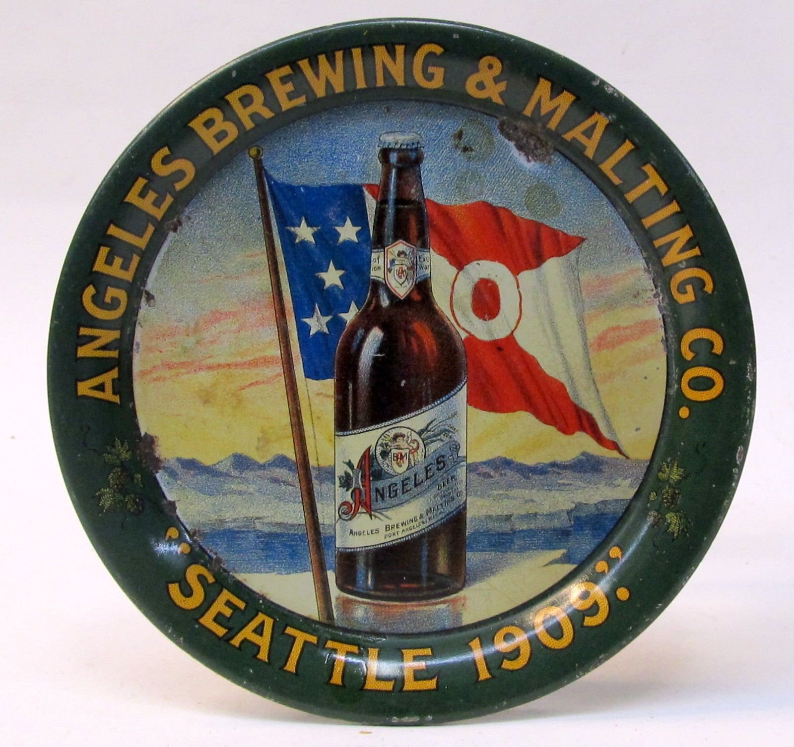 Angeles Brewing Beer, Tip Tray, Port Angeles, WA, Seattle Exhibition 1909