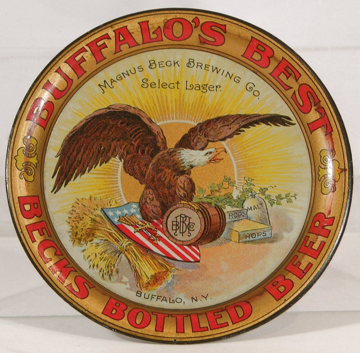 Magnus Beck Brewing Beer Tip Tray, Buffalo, NY. Circa 1905