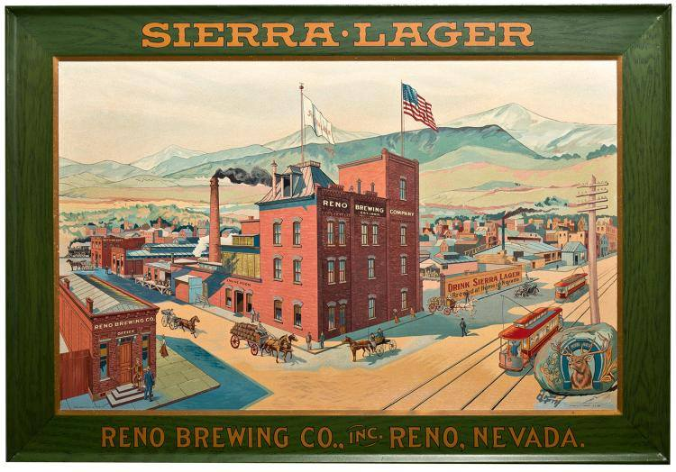 Reno NV Brewing Co. Reno, Nevada. Self Framed Tin Sign, Circa 1900