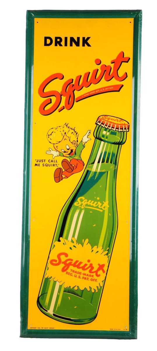 Squirt Soda Self Framed Tin Sign, Circa 1940's.