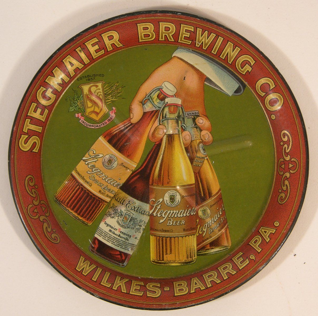 Stegmaier Brewing Beer Tip Tray, Wilkes Barre, PA. Circa 1905