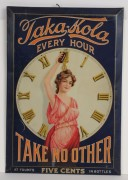 """TAKA-KOLA SODA TIN OVER CARDBOARD SIGN, """"TAKE NO OTHER"""", Circa 1900"""