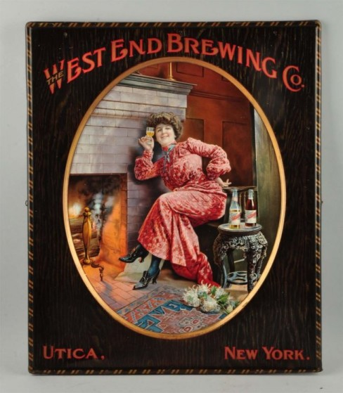 West End Brewing Tin Sign, Utica, NY. Circa 1900