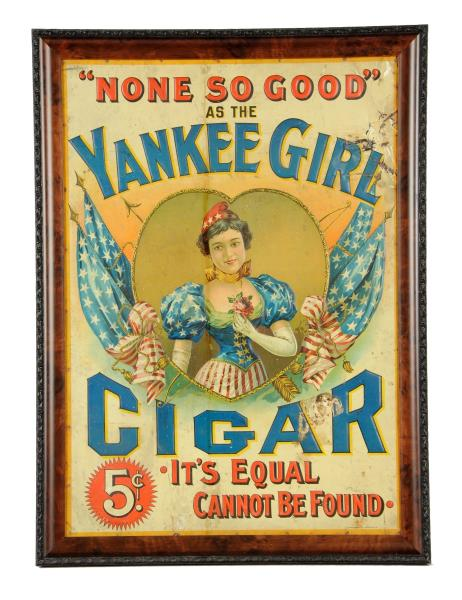 Yankee Girl Brand Cigars, Tin Sign, Circa 1900