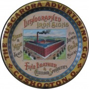 Tuscarora Advertising Co. Iron & Litho Sign Company Metal Tray.  Coshocton, OH.  Circa 1895