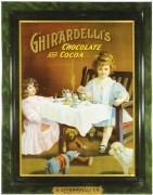 Ghiardelli Chocolate and Cocoa Self-Framed Tin Sign.   San Francisco, CA.  Circa 1900