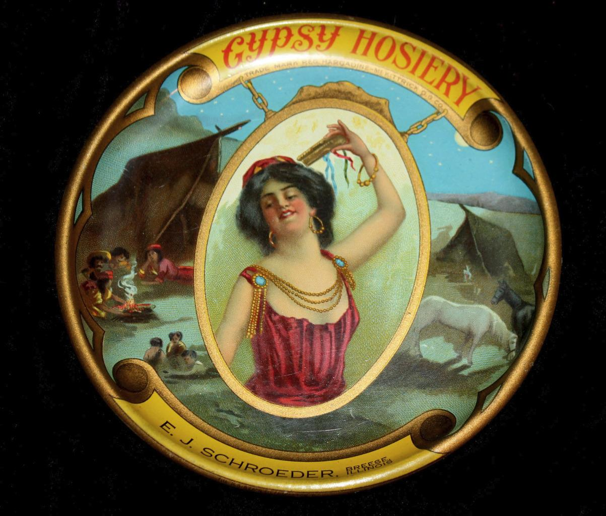 Gypsy Hosiery, Hargadine-McKittrick Dry Goods Store, St. Louis MO Tip Tray, for E J Schroeder Breese, IL