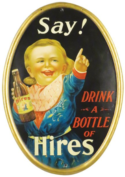 Hire's Root Beer Self-Framed Oval Bead Sign. Circa 1900