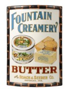 Roach & Seeber Co, Waterloo, WI.  Fountain Creamery Vitrolite Corner Sign.  Circa 1910