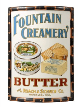 Roach & Seeber's Fountain Creamery Waterloo WI, Vitrolite Corner Sign, Circa 1910