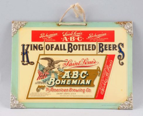American Brewing Co, Celluloid Over Cardboard Sign, ABC Beer Brand, St. Louis, MO. Circa 1905