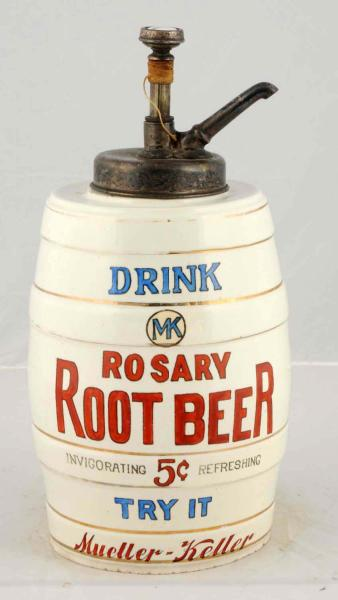 Mueller-Kellar Co., St. Joseph, MO. Rosary Root Beer Syrup Dispenser. Circa 1915.