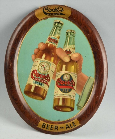 Cooks Beer Self Framed Oval Sign, Evansville, IN. Circa 1910