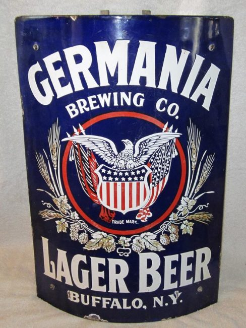 Germania Brewing Co., Porcelain Lager Beer Corner Sign, Buffalo N.Y. Circa 1900