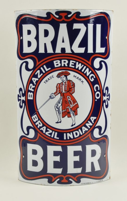 Brazil Brewing Co, Porcelain Corner Sign, Brazil, IN. Ca 1910
