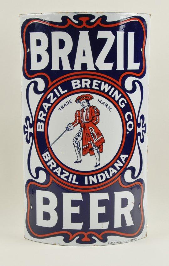 Brazil Brewing Co, Porcelain Corner Sign, Brazil, IN. Ca 1910