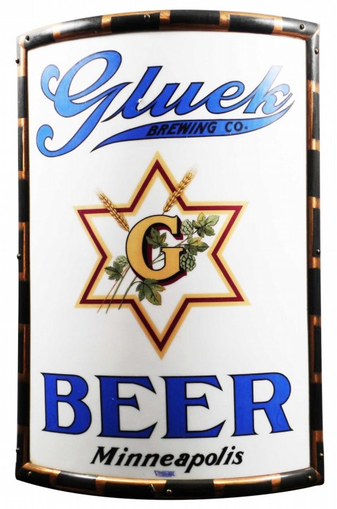 Glueks Beer Vitrolite Corner Sign, Minneapolis, MN. Circa 1910