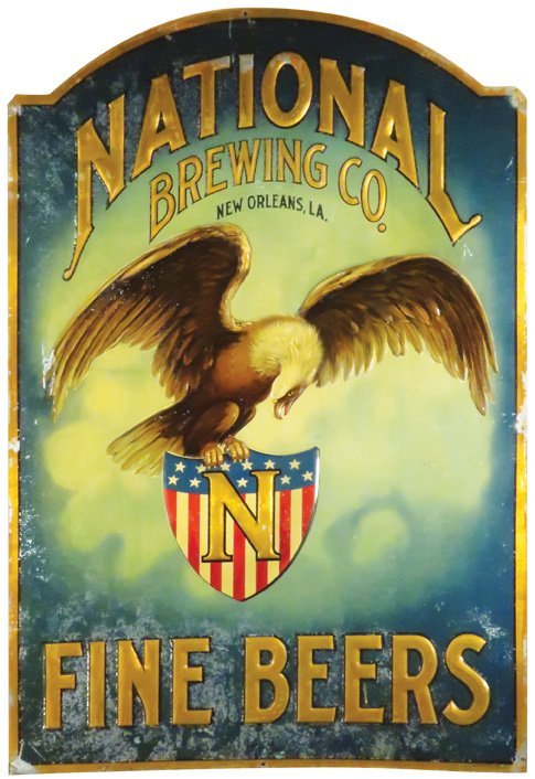 National Brewing Co., Tin Sign, New Orleans, LA. Circa 1900