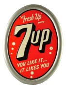 7UP SODA SELF-FRAMED TIN SIGN.  Circa 1950