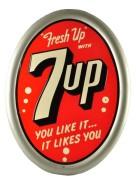7UP SODA SELF-FRAMED TIN SIGN.  Circa 1950